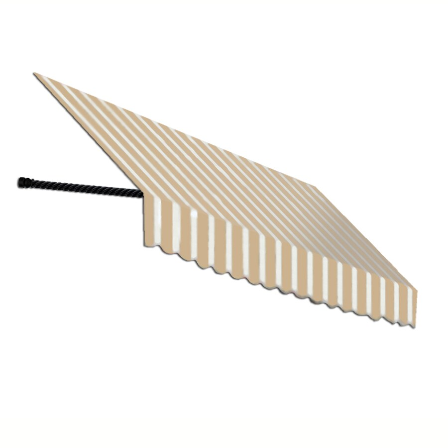 Awntech 100.5-in Wide x 24-in Projection Tan/White Stripe Open Slope Window/Door Awning