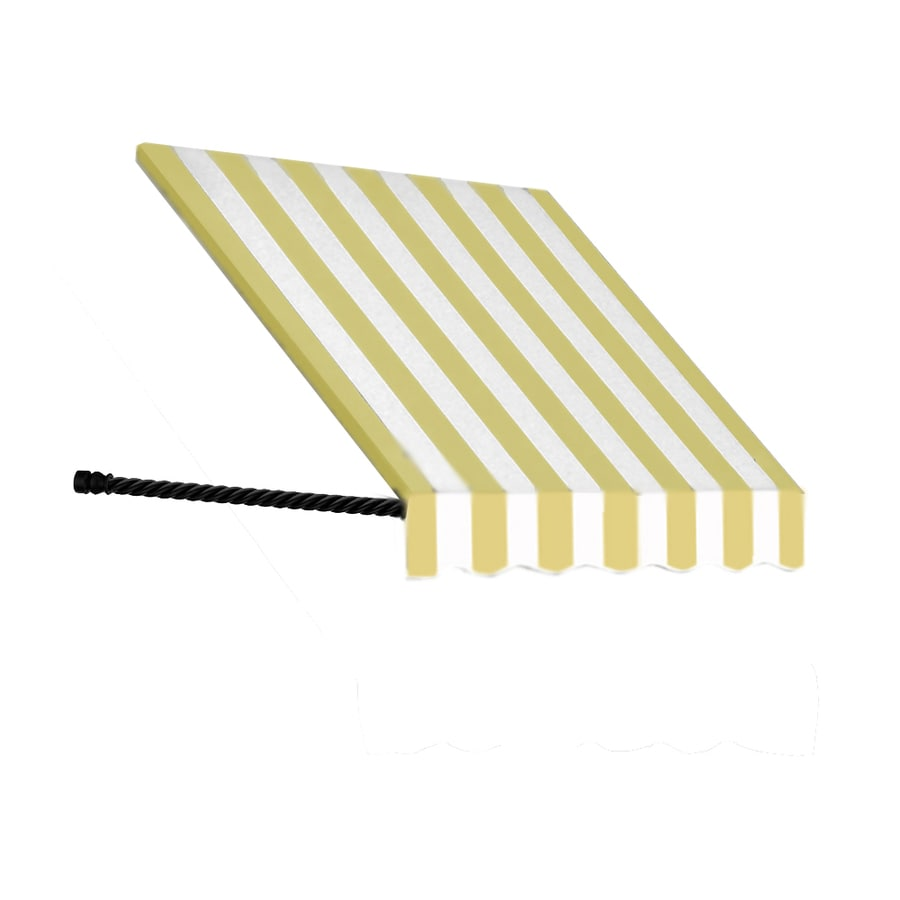 Awntech 100.5-in Wide x 24-in Projection Yellow/White Stripe Open Slope Window/Door Awning
