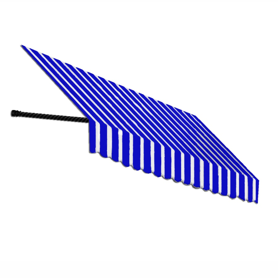 Awntech 544.5-in Wide x 36-in Projection Bright Blue/White Stripe Open Slope Window/Door Awning