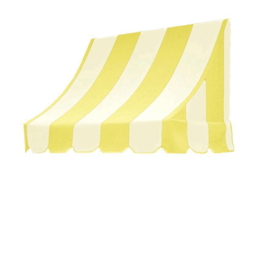 Awntech 124.5-in Wide x 48-in Projection Yellow/White Stripe Crescent Window/Door Awning