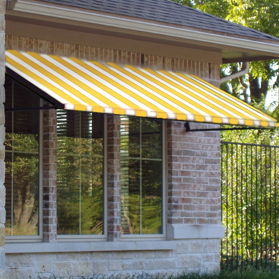 Awntech 64.5-in Wide x 48-in Projection Yellow/White Stripe Open Slope Window/Door Awning