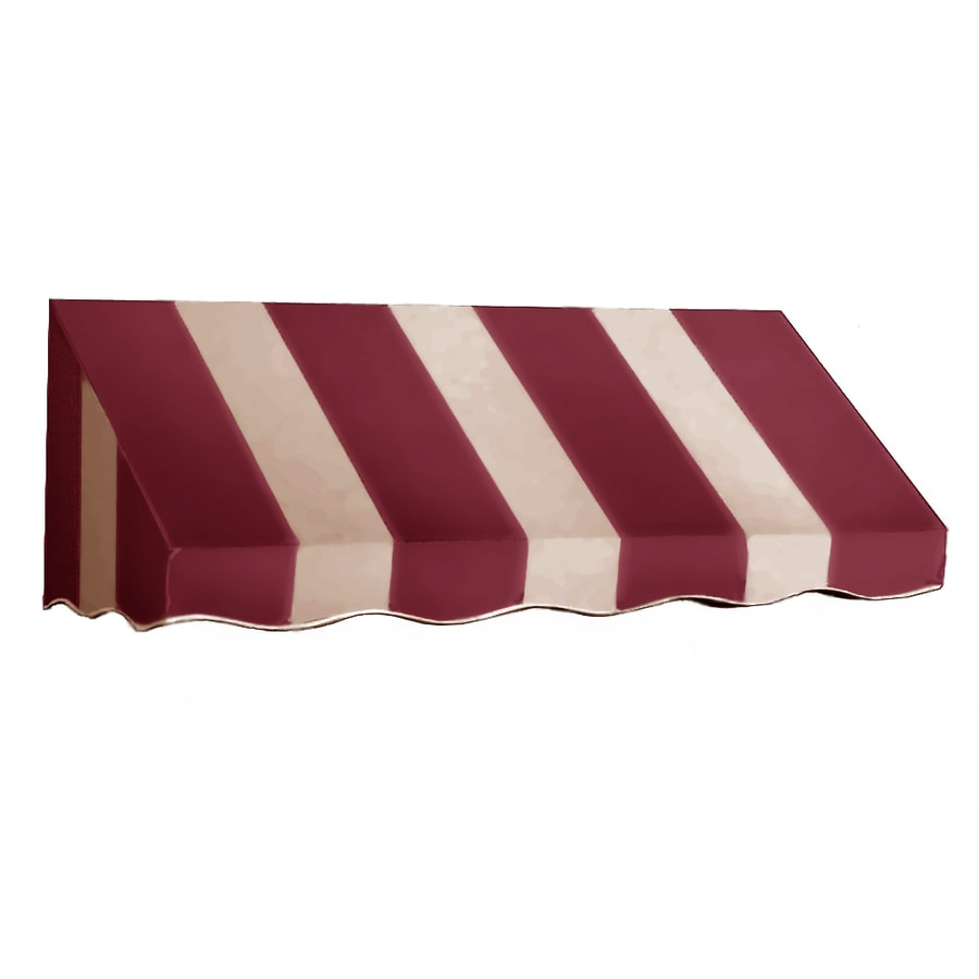 Awntech 424.5-in Wide x 42-in Projection Burgundy/Tan Stripe Slope Window/Door Awning