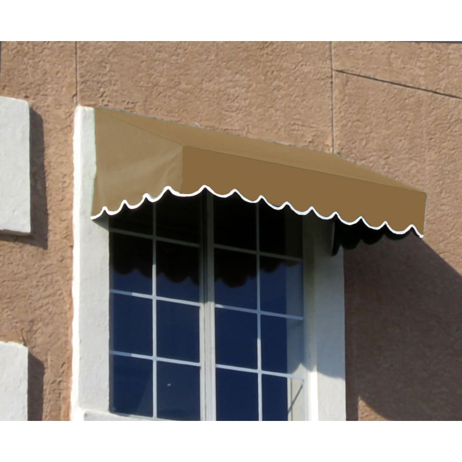 Awntech 100.5-in Wide x 42-in Projection Tan Solid Slope Low Eave Window/Door Awning