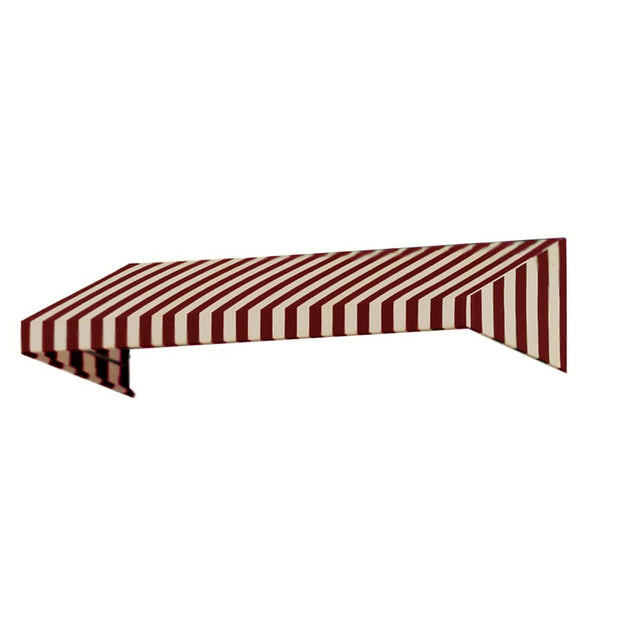Awntech 124.5-in Wide x 42-in Projection Burgundy/Tan Stripe Slope Window/Door Awning