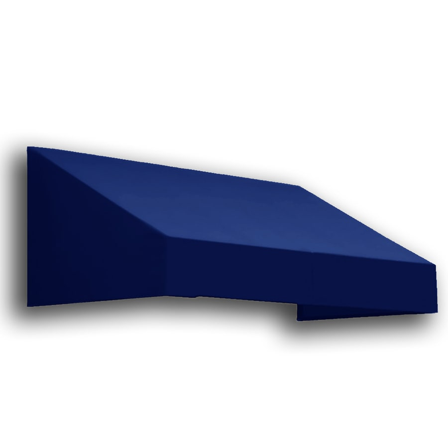 Awntech 124.5-in Wide x 42-in Projection Navy Solid Slope Window/Door Awning