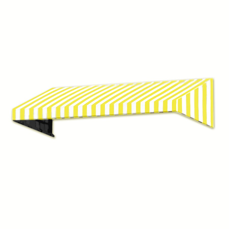 Awntech 64.5-in Wide x 42-in Projection Yellow/White Stripe Slope Window/Door Awning