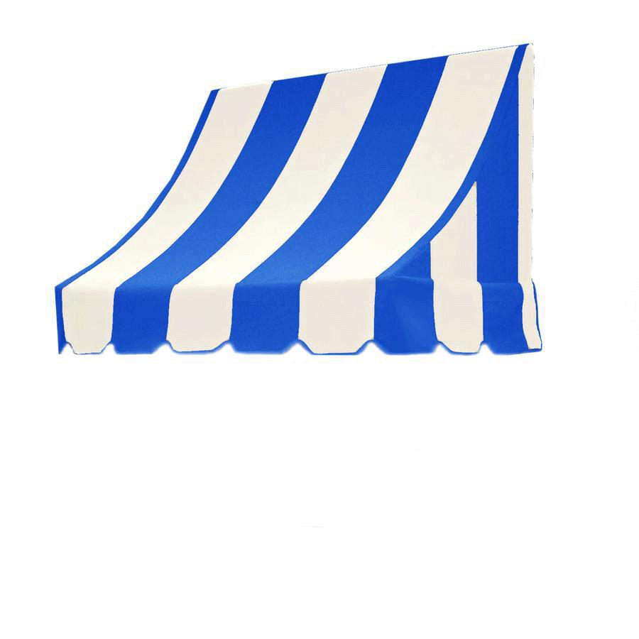 Awntech 64.5-in Wide x 48-in Projection Bright Blue/White Stripe Crescent Window/Door Awning