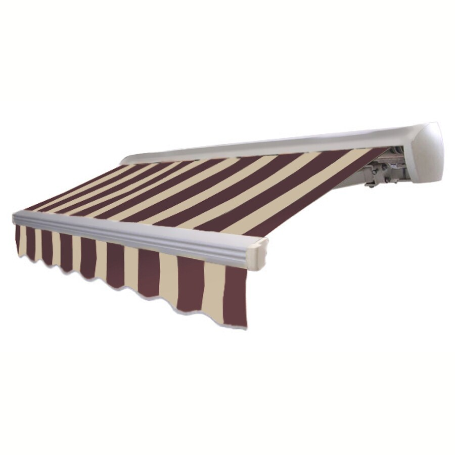 Awntech 14-ft Wide x 10-ft 2-in Projection Brown/Tan Striped Slope Patio Retractable Manual Awning