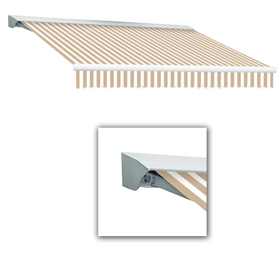 Awntech 14-ft Wide x 10-ft 2-in Projection Tan/White Striped Slope Patio Retractable Remote Control Awning