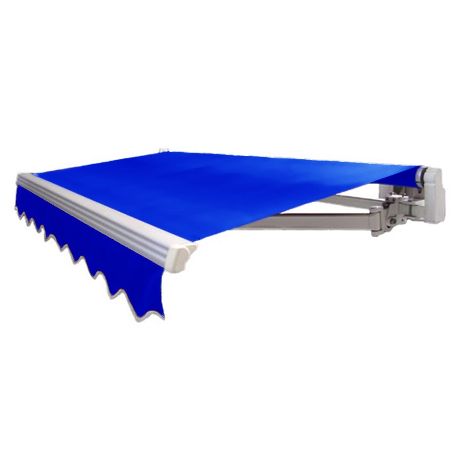 Awntech 18-ft Wide x 10-ft 2-in Projection Bright Blue Slope Patio Retractable Manual Awning