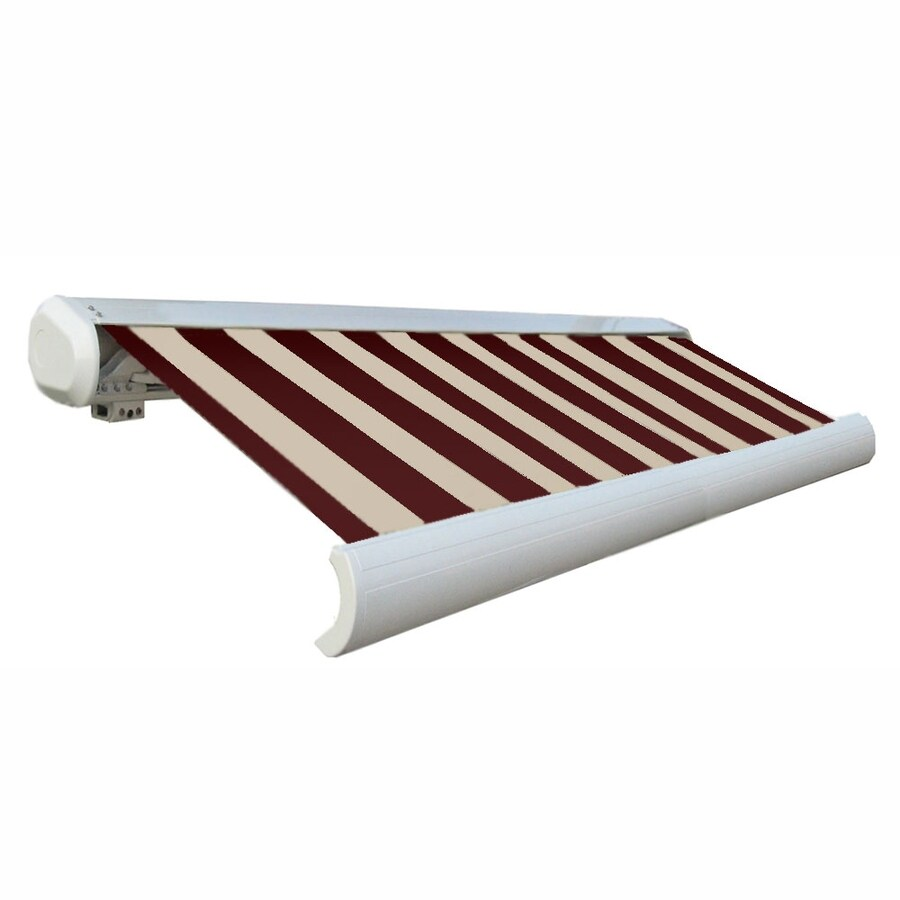 Awntech 168-in Wide x 122-in Projection Burgundy/Tan Stripe Slope Patio Retractable Manual Awning