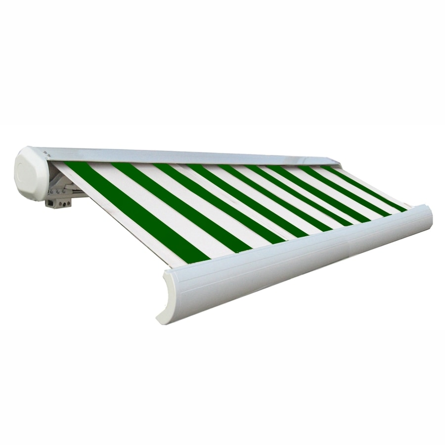 Awntech 192-in Wide x 122-in Projection Forest/White Stripe Slope Patio Retractable Manual Awning