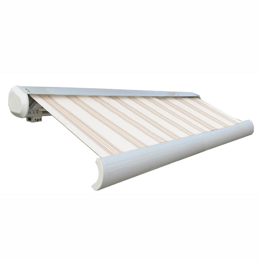 Awntech 96-in Wide x 84-in Projection Tan/Terra Cotta Stripe Slope Patio Retractable Manual Awning