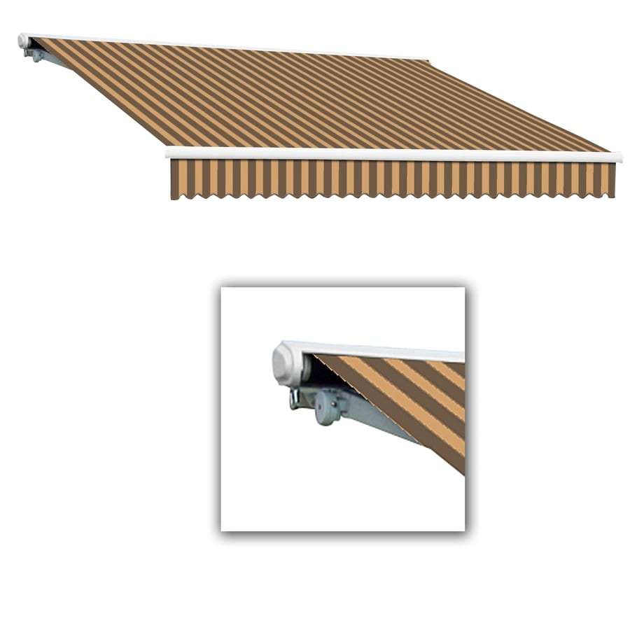 Awntech 96-in Wide x 84-in Projection Brown/Tan Stripe Slope Patio Retractable Remote Control Awning