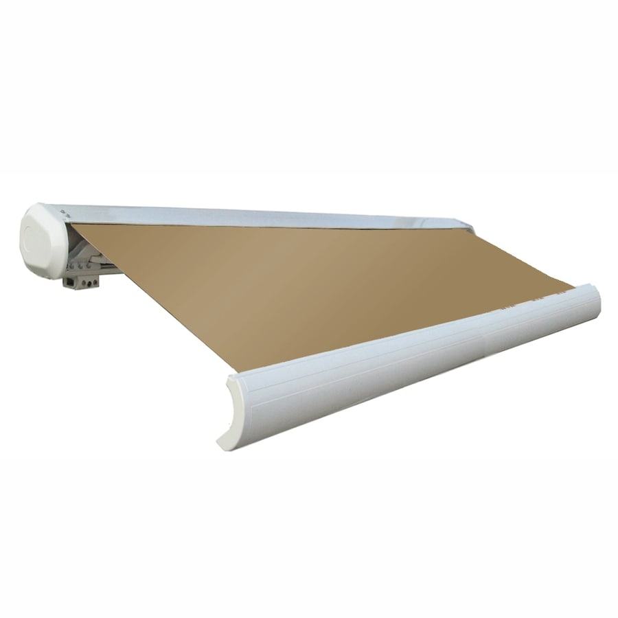 Awntech 144-in Wide x 122-in Projection Tan Solid Slope Patio Retractable Remote Control Awning