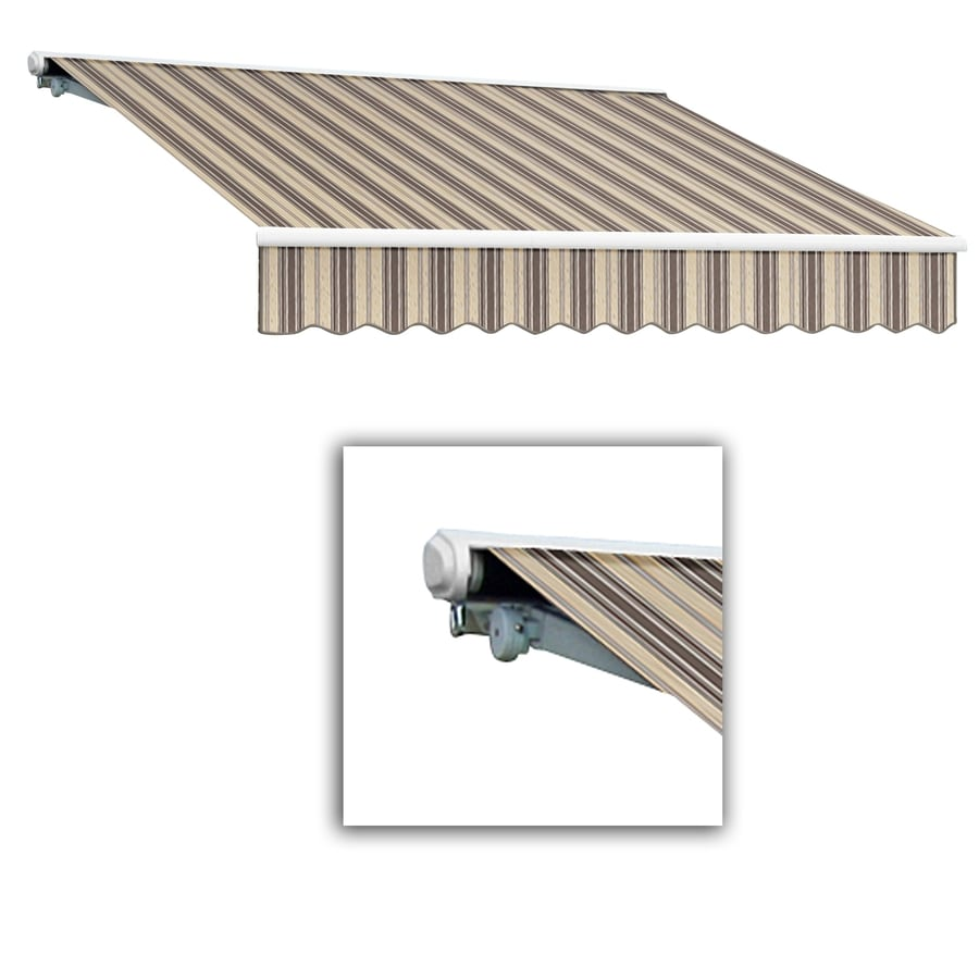 Awntech 144-in Wide x 122-in Projection Taupe/Linen Multi Striped Slope Patio Retractable Manual Awning