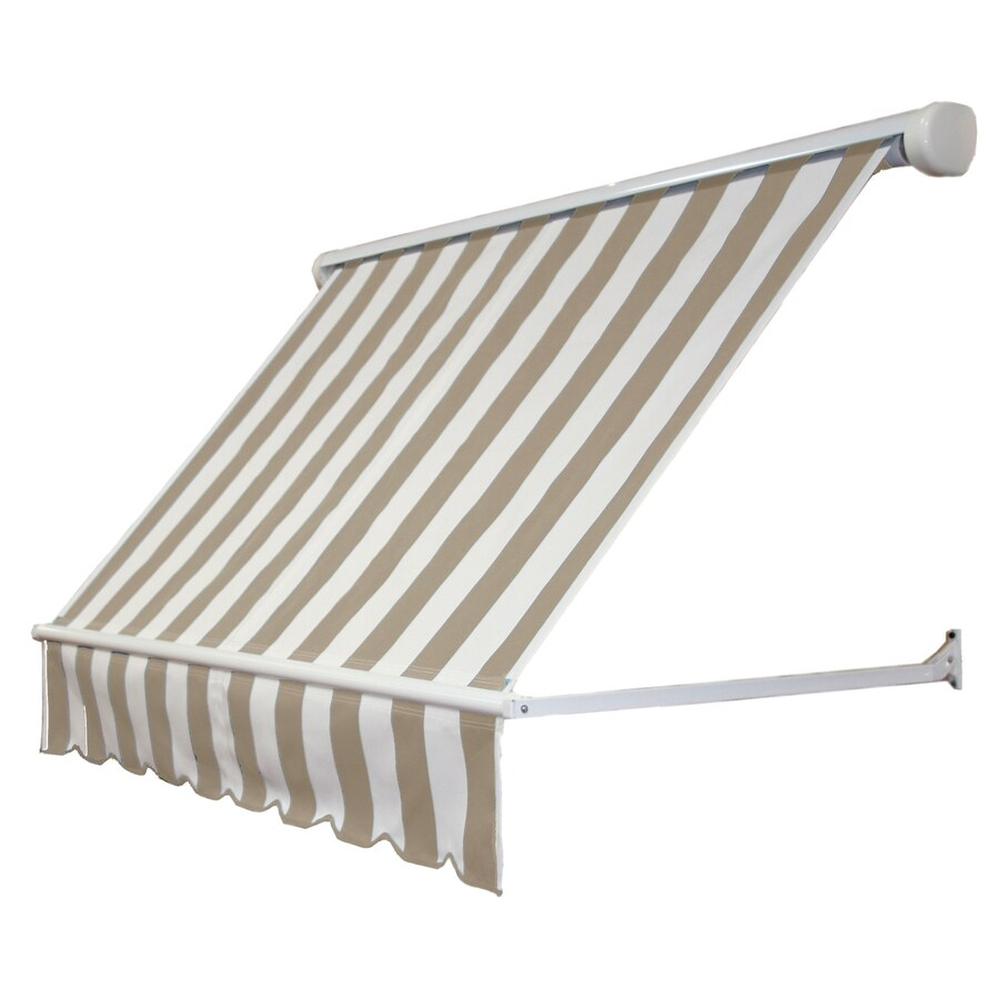 Awntech 60-in Wide x 24-in Projection Tan/White Stripe Open Slope Window Retractable Manual Awning