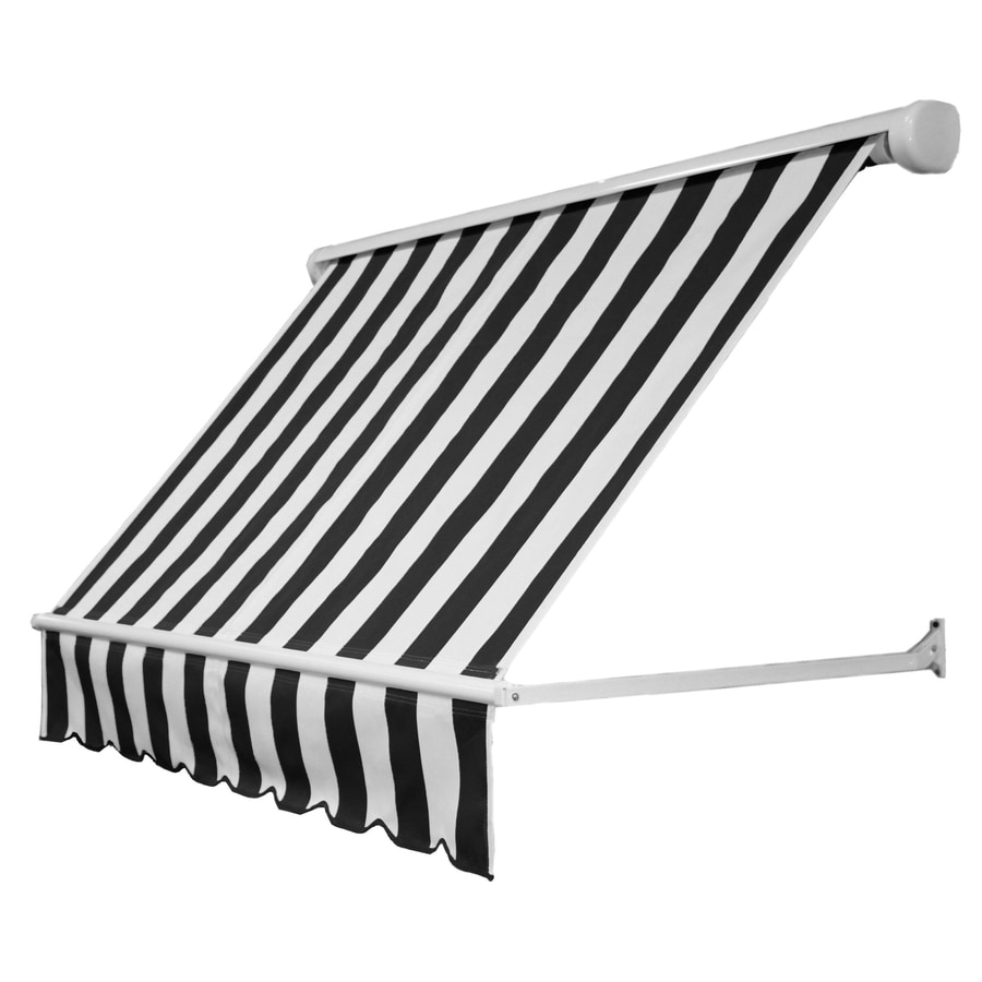 Awntech 60-in Wide x 24-in Projection Black/White Stripe Open Slope Window Retractable Manual Awning