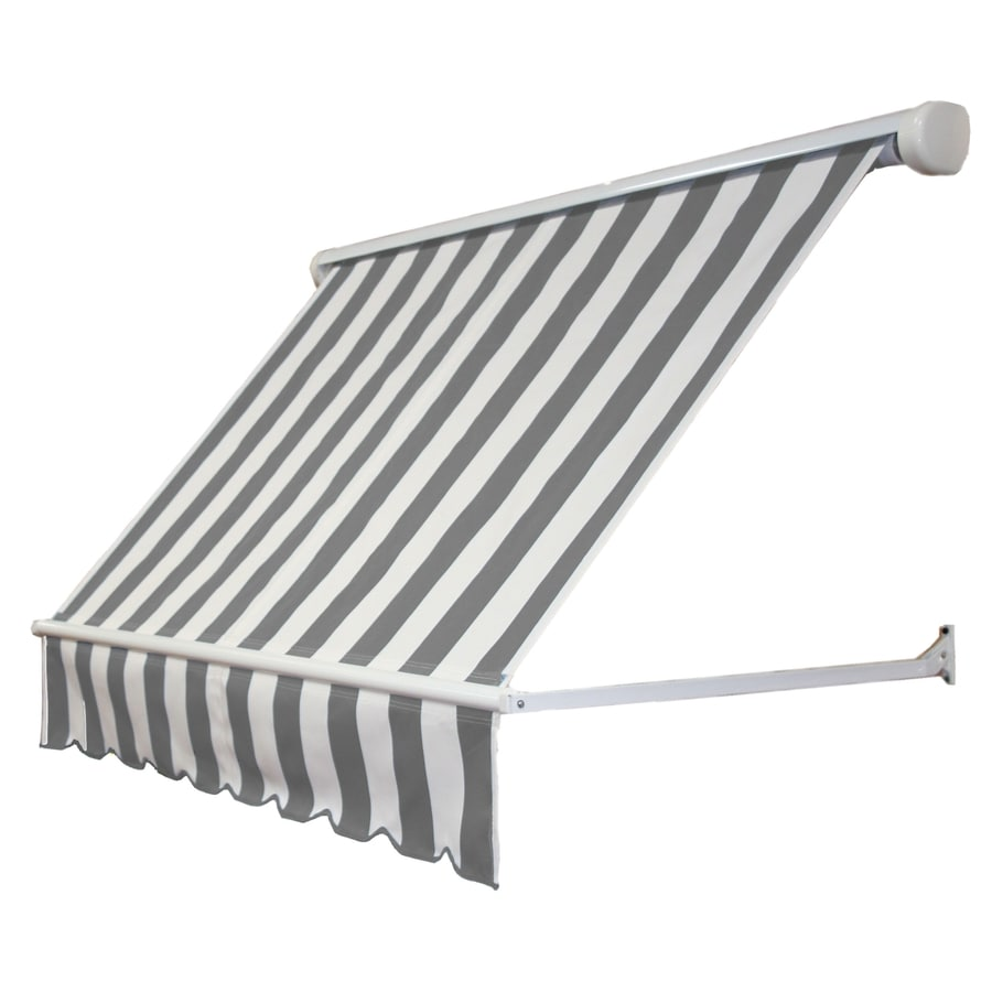 Awntech 72-in Wide x 24-in Projection Gray/White Stripe Open Slope Window Retractable Manual Awning