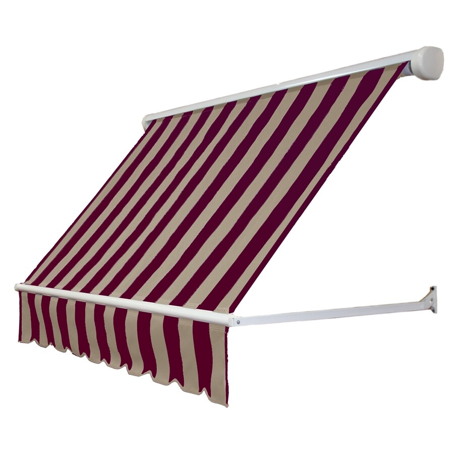 Awntech 72-in Wide x 24-in Projection Burgundy/Tan Stripe Open Slope Window Retractable Manual Awning