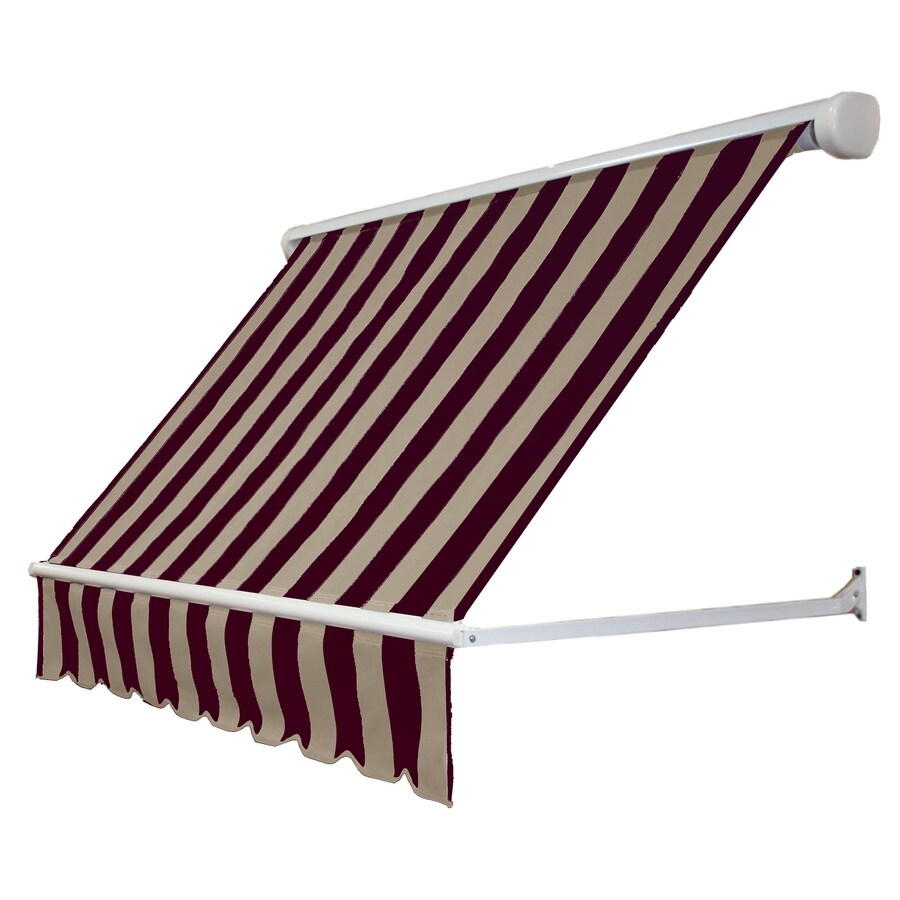 Awntech 120-in Wide x 24-in Projection Brown/Tan Stripe Open Slope Window Retractable Manual Awning