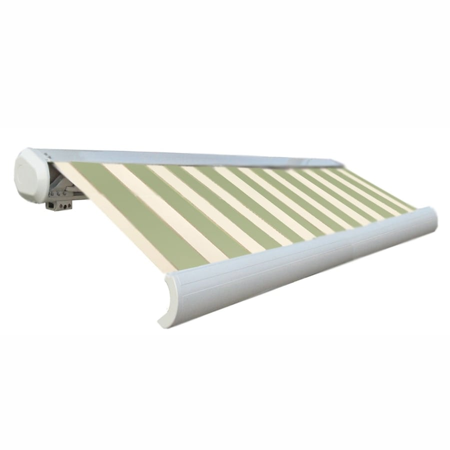 Awntech 144-in Wide x 122-in Projection Sage/Linen/Cream Stripe Slope Patio Retractable Remote Control Awning