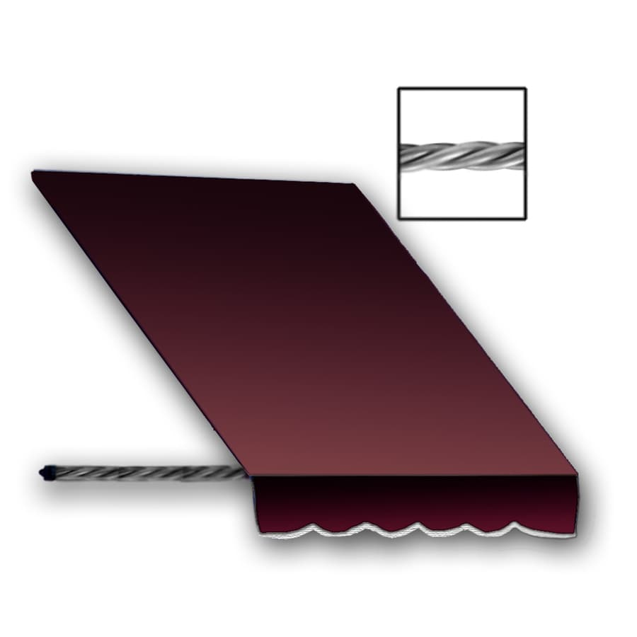 Awntech 52.5-in Wide x 36-in Projection Burgundy Solid Open Slope Window/Door Awning