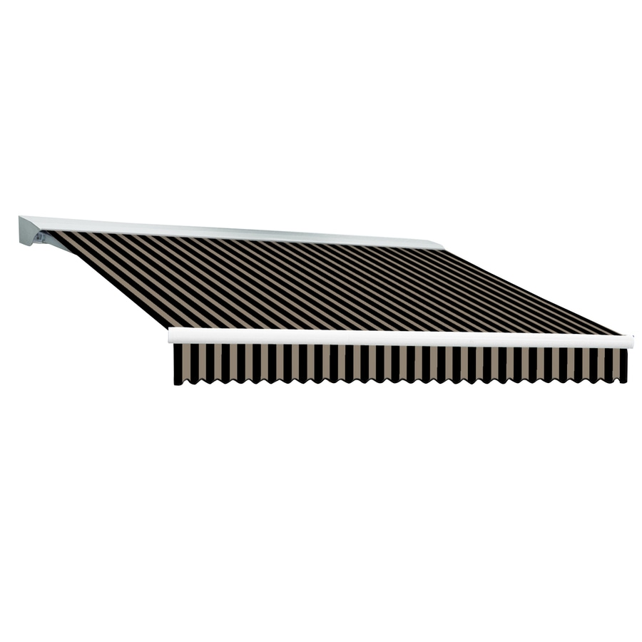 Awntech 120-in Wide x 96-in Projection Black/Tan Stripe Slope Patio Retractable Manual Awning
