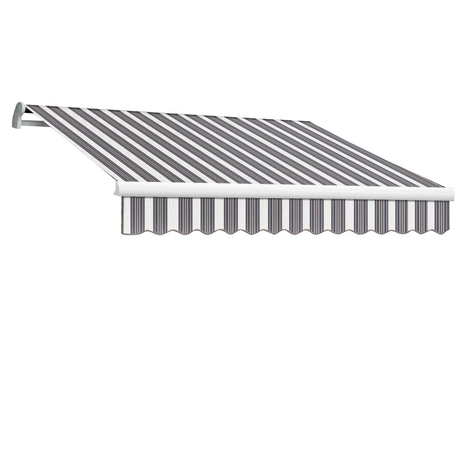 Awntech 96-in Wide x 84-in Projection Navy/Gray/White Stripe Slope Patio Retractable Manual Awning