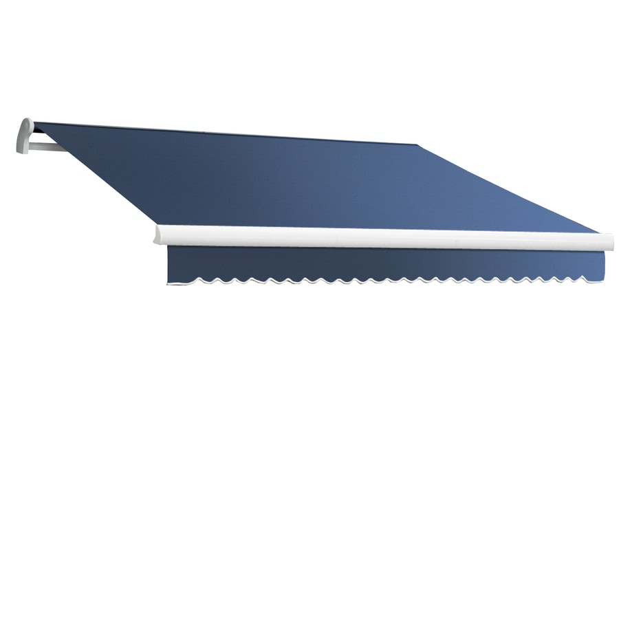 Awntech 96-in Wide x 84-in Projection Dusty Blue Solid Slope Patio Retractable Manual Awning