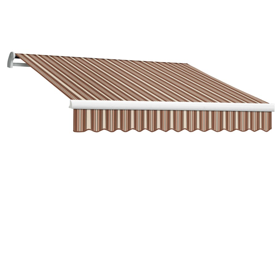 Awntech 120-in Wide x 96-in Projection Brown/Terra Cotta Stripe Slope Patio Retractable Remote Control Awning