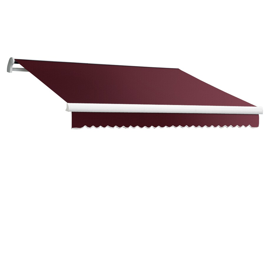 Awntech 96-in Wide x 84-in Projection Burgundy Solid Slope Patio Retractable Manual Awning