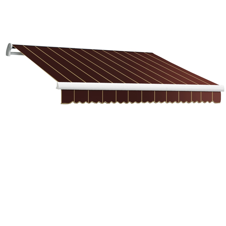 Awntech 96-in Wide x 84-in Projection Burgundy Pin-Stripe Slope Patio Retractable Manual Awning