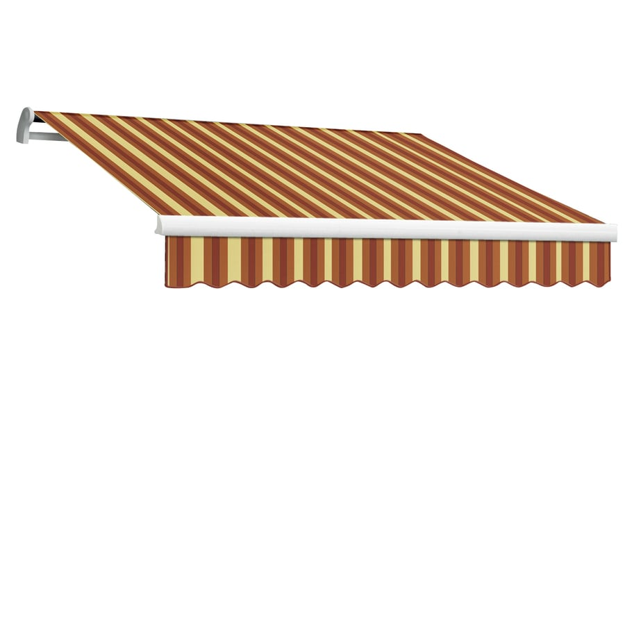 Awntech 96-in Wide x 84-in Projection Burgundy/Tan Wide Stripe Slope Patio Retractable Manual Awning
