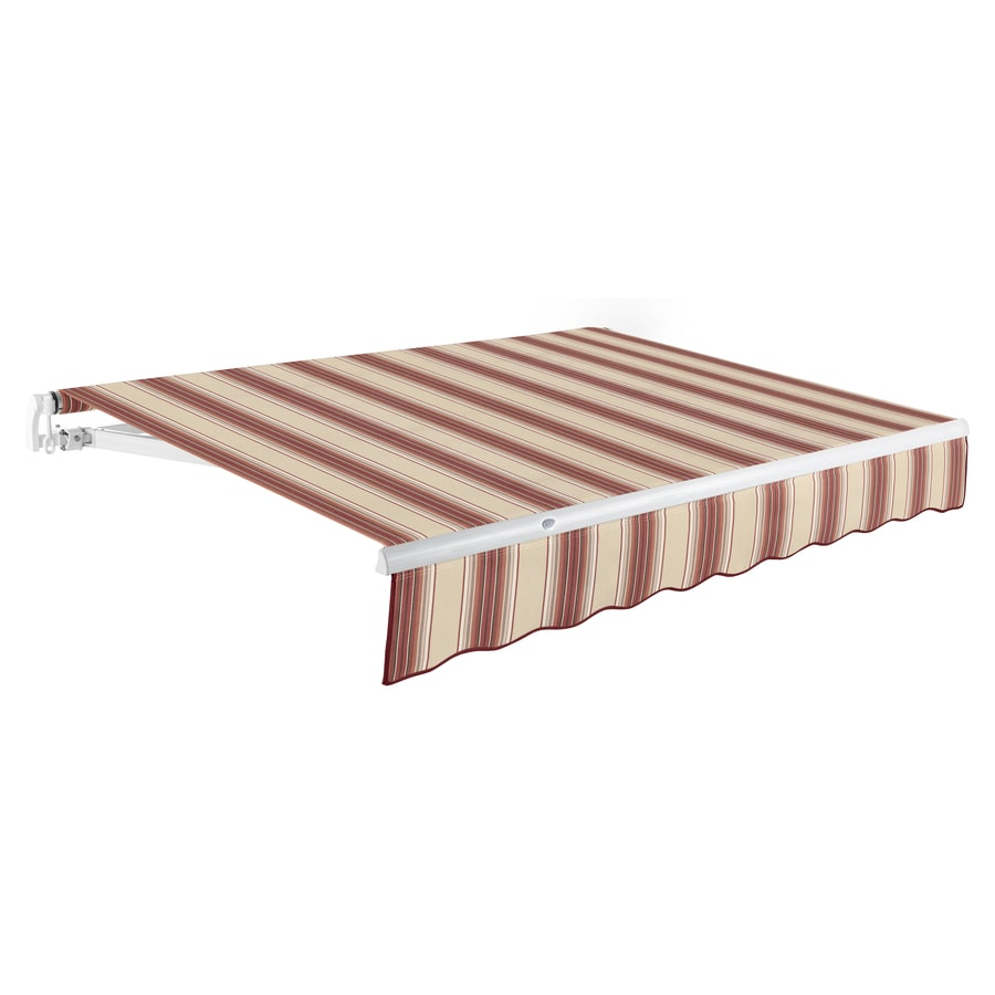 Awntech 96-in Wide x 84-in Projection Burgundy/Tan Multi Stripe Slope Patio Retractable Manual Awning