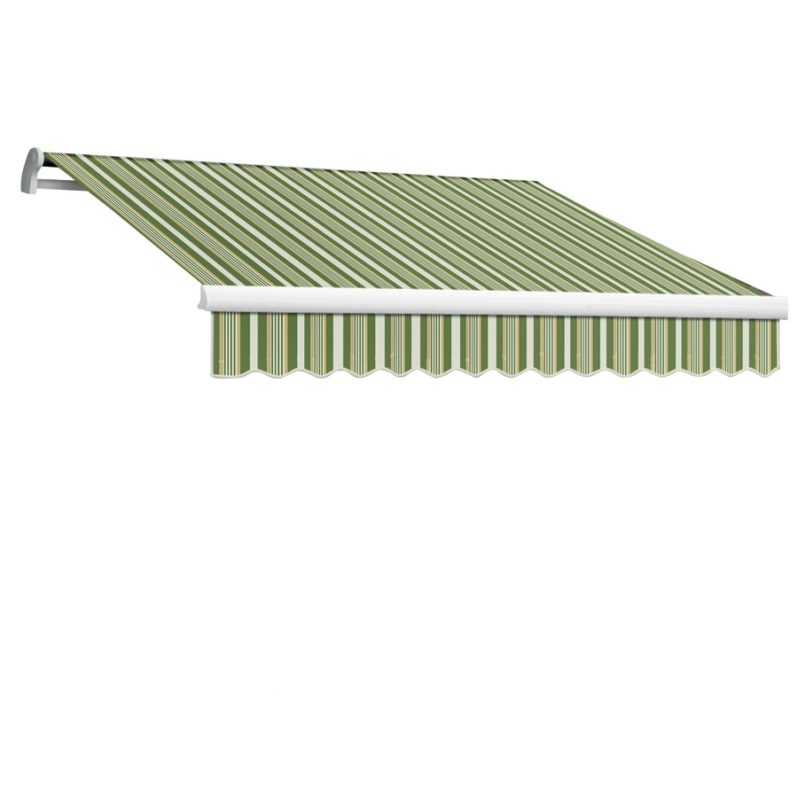 Awntech 96-in Wide x 84-in Projection Forest/Gray Multi Stripe Slope Patio Retractable Manual Awning