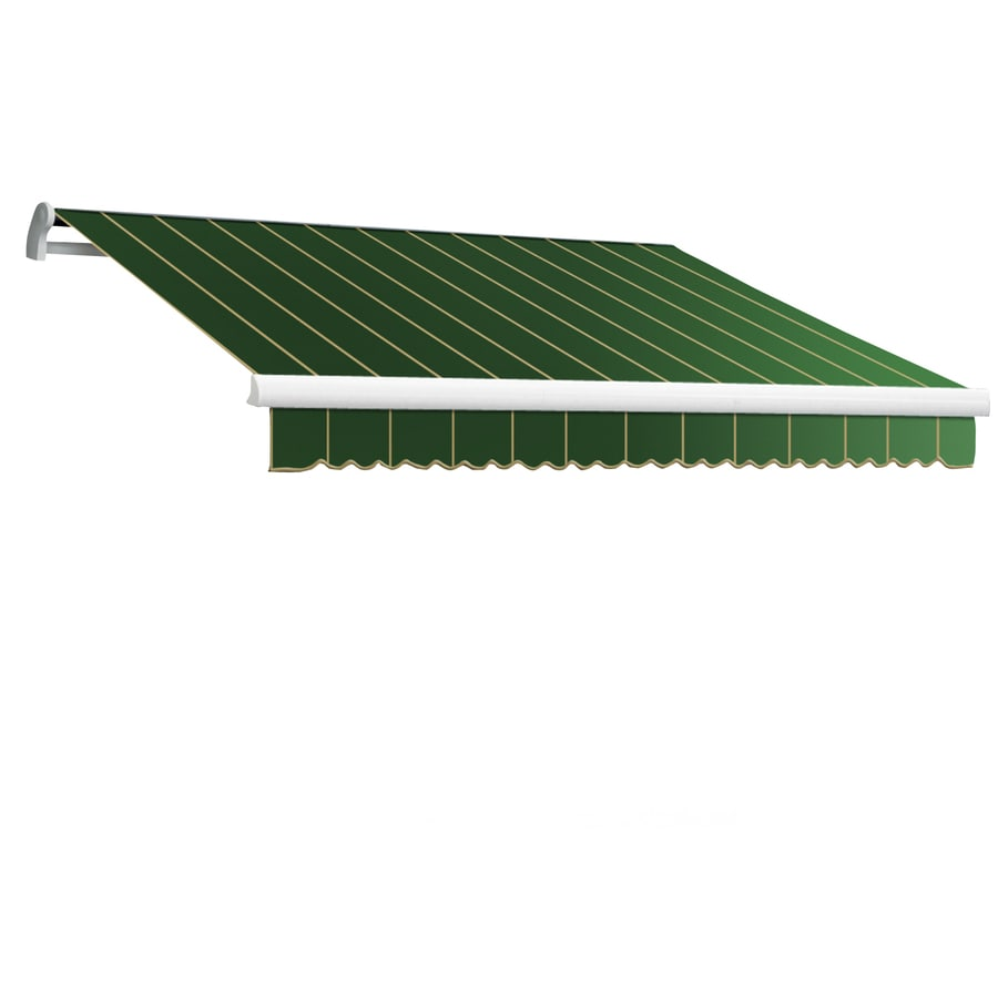 Awntech 96-in Wide x 84-in Projection Forest Pin-Stripe Slope Patio Retractable Manual Awning