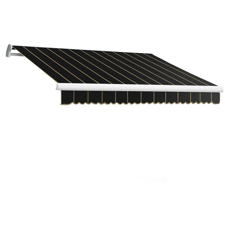 Awntech 96-in Wide x 84-in Projection Black Pin-Stripe Slope Patio Retractable Manual Awning