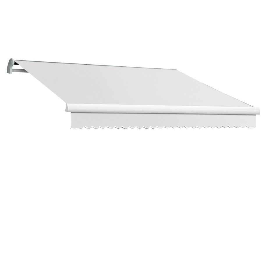 Awntech 96-in Wide x 84-in Projection Off-White Solid Slope Patio Retractable Manual Awning