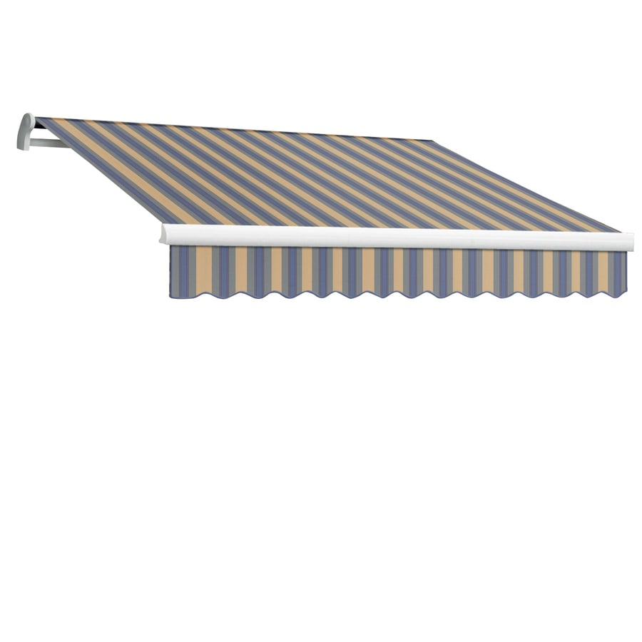 Awntech 120-in Wide x 96-in Projection Dusty Blue/Tan Multi Stripe Slope Patio Retractable Manual Awning