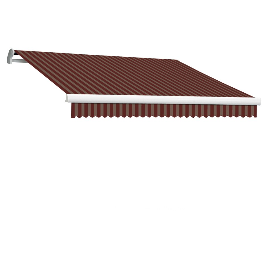 Awntech 144-in Wide x 120-in Projection Burgundy/Tan Stripe Slope Patio Retractable Manual Awning