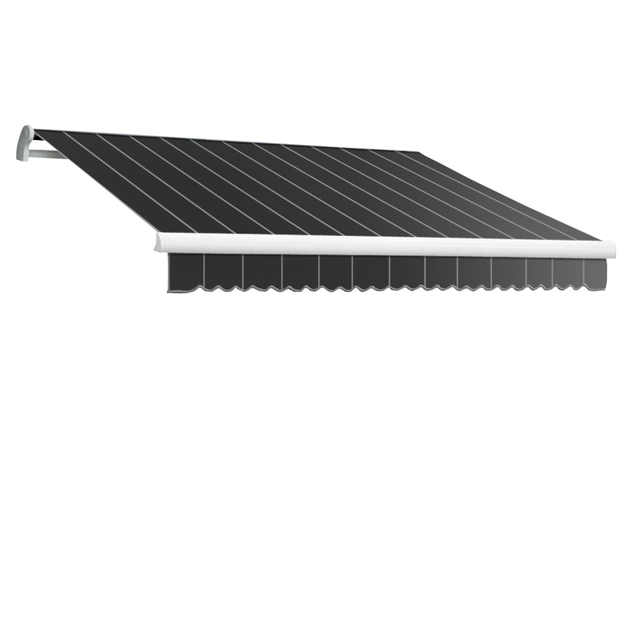 Awntech 144-in Wide x 120-in Projection Gun Pin-Stripe Slope Patio Retractable Manual Awning