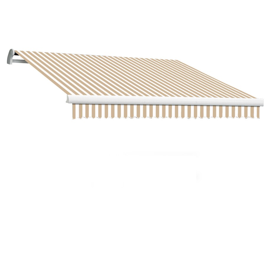 Awntech 144-in Wide x 120-in Projection Linen/White Stripe Slope Patio Retractable Manual Awning
