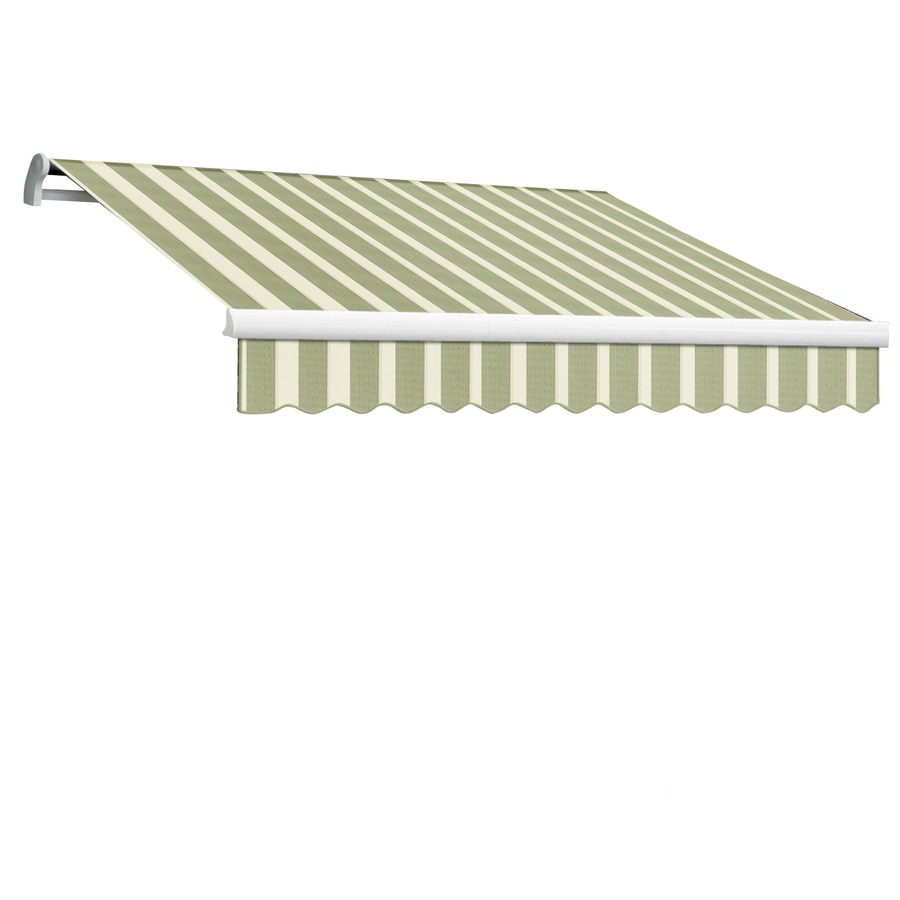 Awntech 144-in Wide x 120-in Projection Sage/Linen/Cream Stripe Slope Patio Retractable Manual Awning