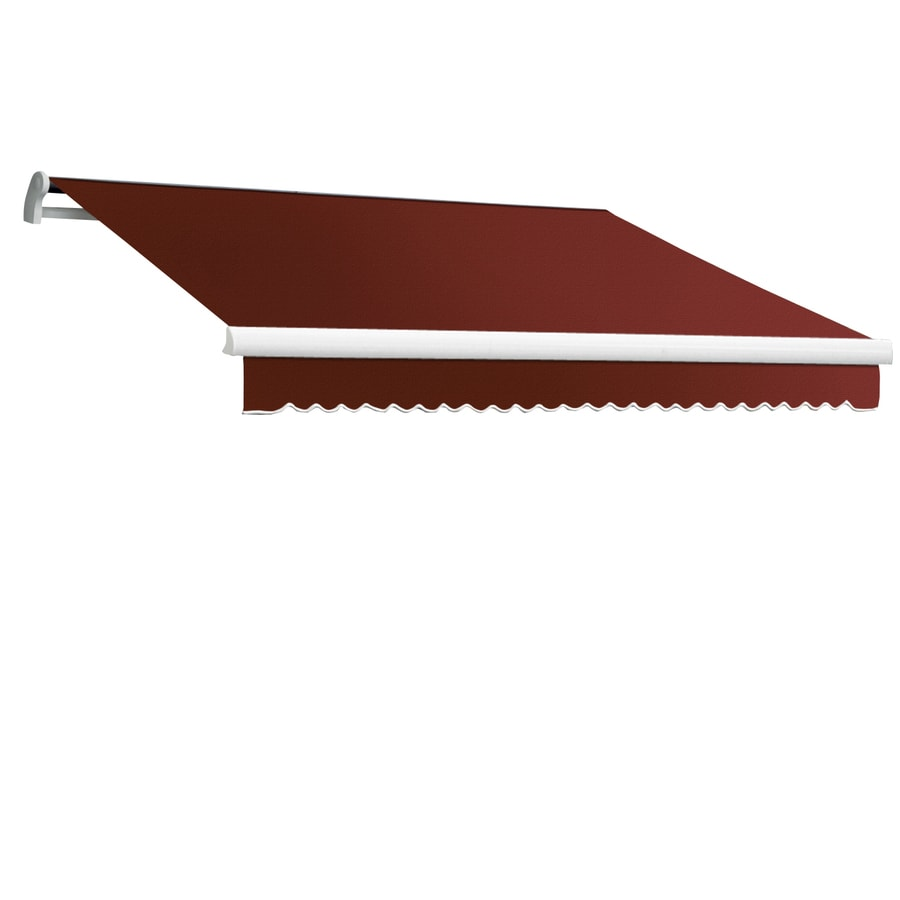 Awntech 144-in Wide x 120-in Projection Terra Cotta Solid Slope Patio Retractable Manual Awning