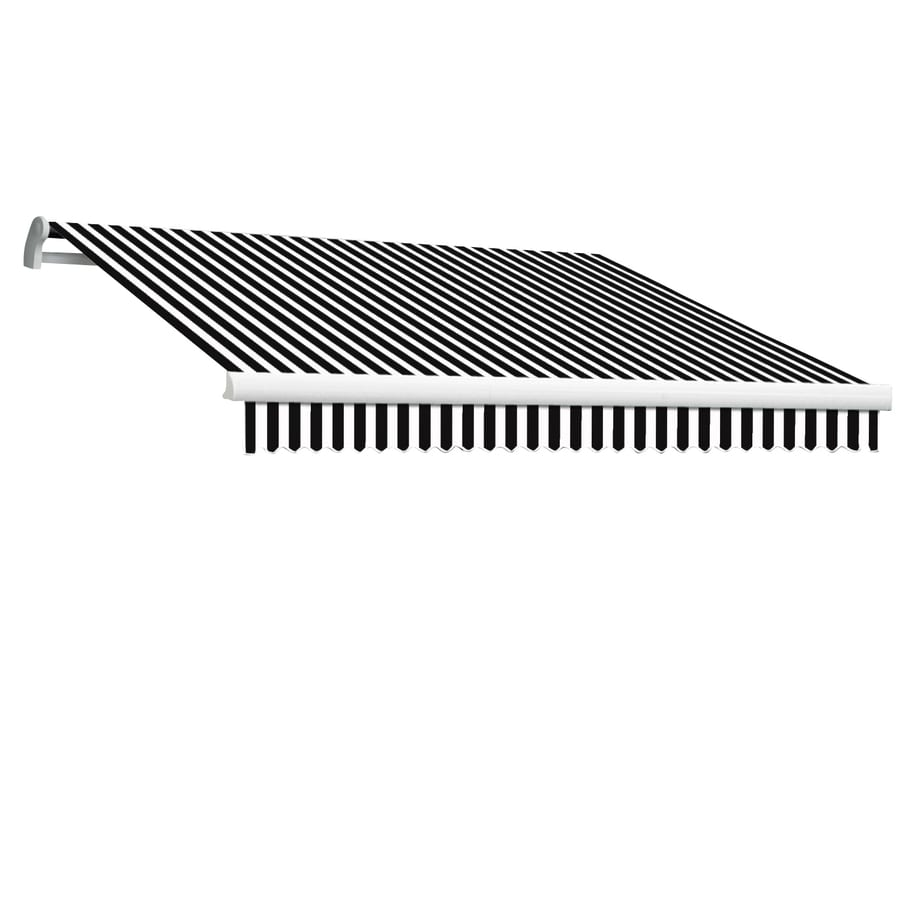 Awntech 168-in Wide x 120-in Projection Black/White Stripe Slope Patio Retractable Manual Awning