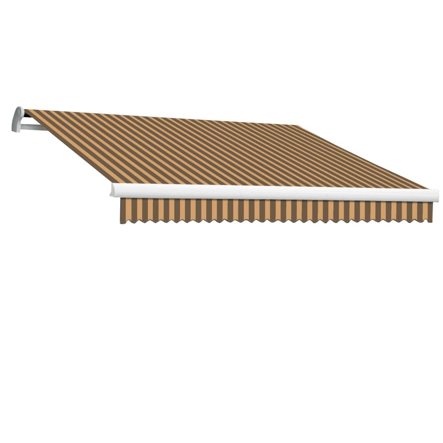 Awntech 192-in Wide x 120-in Projection Brown/Tan Stripe Slope Patio Retractable Manual Awning