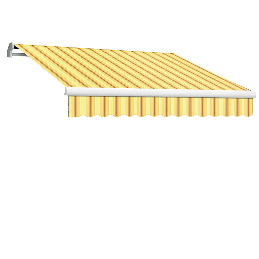 Awntech 144-in Wide x 120-in Projection Yellow/Terra Stripe Slope Patio Retractable Remote Control Awning