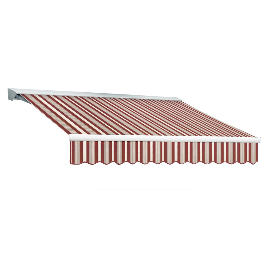 Awntech 120-in Wide x 96-in Projection Burgundy/Gray/White Stripe Slope Patio Retractable Manual Awning