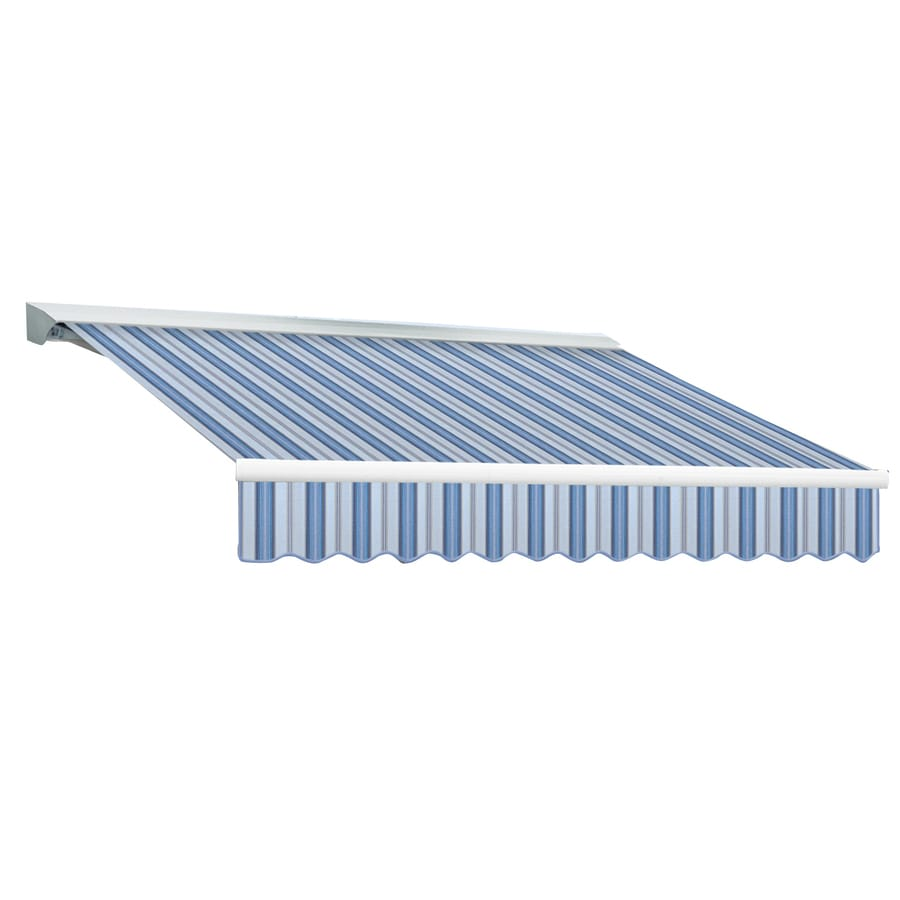 Awntech 144-in Wide x 120-in Projection Blue Multi Stripe Slope Patio Retractable Manual Awning